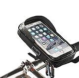 Fahrrad Lenkstange Beutel, Wasserdichte Fahrrad Lenker Lenkstange Einfassung Telefon Halter Aufnahmevorrichtung für iPhone XS MAX XR X 8 7 6S 6 Plus Samsung Galaxy S9 S8 S7 Smartphone bis zu 6 Zoll