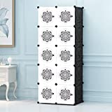 #4: Story@Home Wardrobe Portable And Foldable Multipurpose Cupboard Closet Shelf Storage Cabinet 10 Door Storage, Bookcase, Organizer Rack Shelf for Kids And Women Clothes - White & black