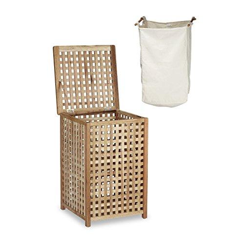 Relaxdays Wäschesammler Walnuss Wäschetruhe mit Deckel HBT 67,5 x 45,7 x 45,7 cm Wäschesortierer Wäschekiste Wäschebox Holz mit Leinensack Wäschekorb mit Wäschesack fassungsvermögen 75 L, natur -