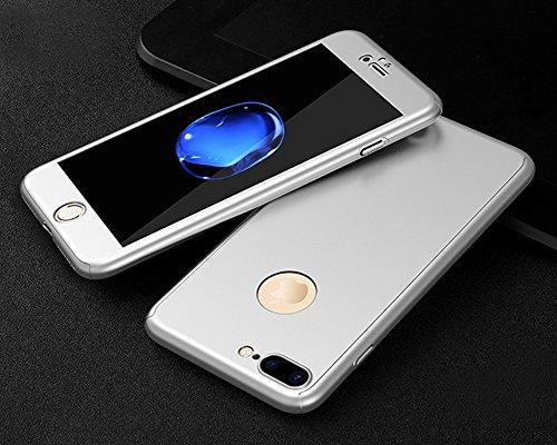 Custodia Cover iPhone SE/5S/5 360 gradi Protezione Silicone Morbida,Ukayfe [3 in 1] Completa Glitter Sparkle Bling Cristallo Lusso di Glitter Angelo Disegno HD Full Body Cover per iPhone SE/5S/5 Trasp Argento di Seta
