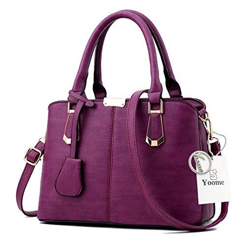 Sacchetti depoca Yoome per le donne Top Handle Satchel Borse eleganti per borse da regalo Cinturino in pelle di moda - verde D.Purple