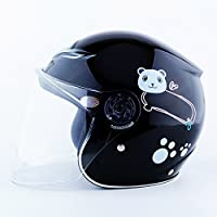 Jipai(TM) Casco da Ciclismo Moto Classico Vintage Sicurezza Protezione della Testa Regolabile per Bambini (Nero)
