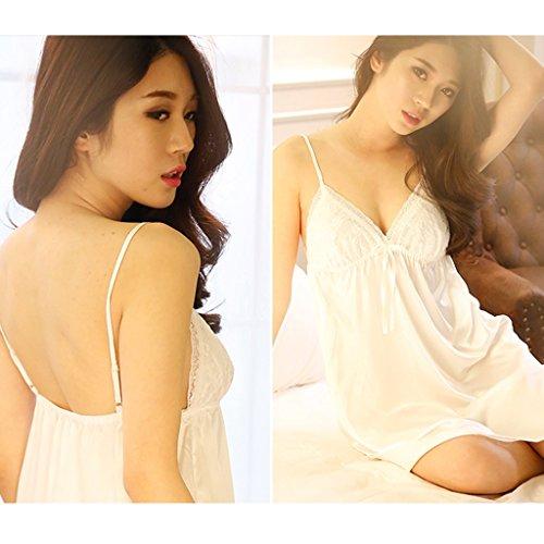 Sleep dress Princess wind Sling in pizzo con pad pettorale Vestito a tre pezzi Divertente pigiama sexy ( Color : Beige , Size : M ) White