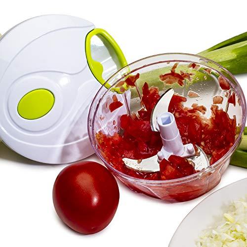 Berela Mini Picadora Manual Xtrem -3, Picadora Manual de Verduras y Alimentos de 900ml, Cortador de verdura con 3 Cuchillas de Acero Inoxidable.