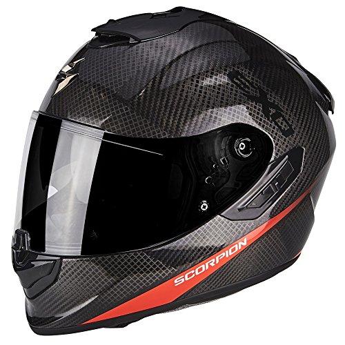 SCORPION Casque moto EXO 1400 AIR CARBON PURE Rouge fluo, Noir/Rouge, XL