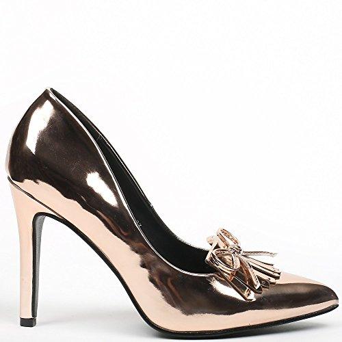 Ideal Shoes–Escarpins vernice con punta appuntita e frange Jema Champagne