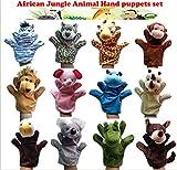KOSBON Confezione da 12 simpatici pupazzi di peluche a forma di animale, morbidi peluche con dita, giocattoli animali (Jungle Animal Hand Puppets)