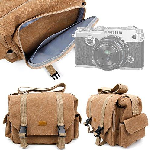 DURAGADGET Bolso Marrón / Canvas Para Cámara Fujifilm X-T2 / Olympus OM-D E-M1 Mark II , PEN F / Sony RX10 III , RX1R II | Alta Calidad - Garantía 2 Años - Tamaño Grande
