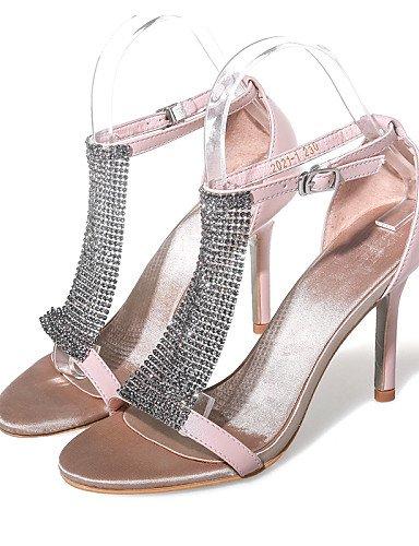 LFNLYX Scarpe Donna-Sandali-Formale / Casual / Serata e festa-Tacchi / Aperta-A stiletto-Di pelle / Seta-Nero / Rosa Black