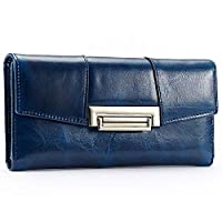 ZOUQILAI Women Wallet Purse Stylish Flap Over Long Purse for Up To 13 Credit Cards, Coins and Cash with Zipped Pockets Designed (color : Blue)