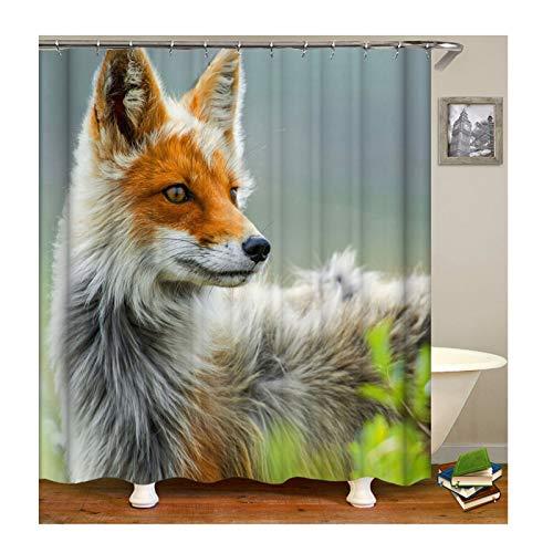 AmDxD Waschbar Polyester Duschvorhang Fuchs Muster Design Badewannenvorhang Digitaldruck Bad Vorhang - Grau mit Duschvorhangringen für Badezimmer Badewanne - Grau Mit Rüschen Duschvorhang