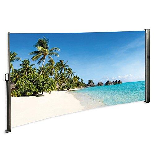 MACOShopde by MACO Möbel Seitenmarkise mit Foto Südsee Strand Karibik Rechts- Windschutz/Sichtschutz/Seitenrollo 160 x 300 cm