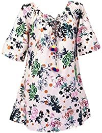 56addfaeee7 WUDUBE Plus Size Womens O-Neck Casual Print Half Sleeve Loose Long Banquet  White Pink Green Blue Clothing for Ladies Going Out Novelty…