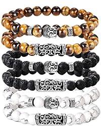 BE STEEL 6 STÜCKE 8 MM Beads Armbänder für Herren Männer Vulkangestein Gelb Tigerauge Armband Weiß Kiefer Buddha Kopf Armband Biker Goth Punk Elastische Armband Set