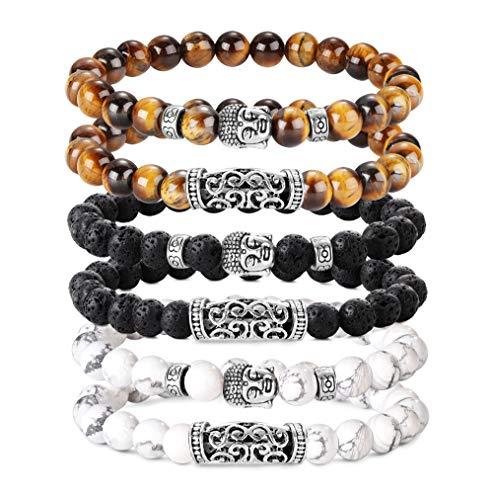 BE STEEL 6 STÜCKE 8 MM Beads Armbänder für Herren Männer Vulkangestein Gelb Tigerauge Armband Weiß Kiefer Buddha Kopf Armband Biker Goth Punk Elastische Armband Set - Bead Herren Armband