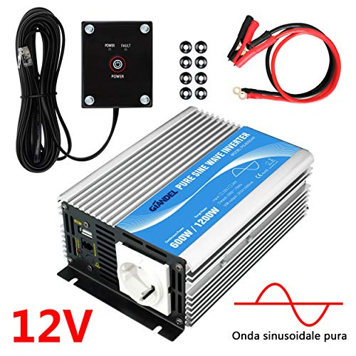 GIANDEL 600W Inverter DC 12V a AC 220V 230V Invertitore Inverter di Potenza Convertitore onda sinusoidale pura con telecomando & porta USB per laptop, fotocamera, smartpho