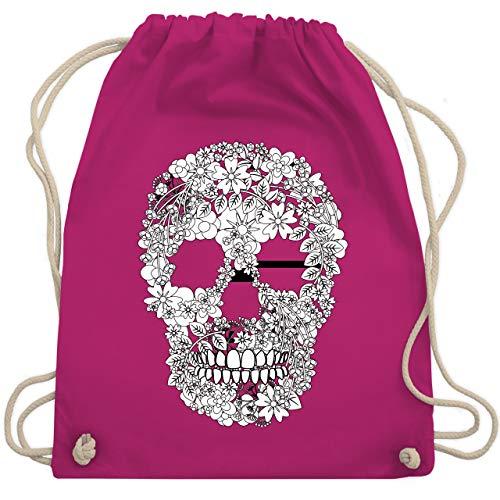 Rockabilly - Totenkopf Blumen Skull Flowers - Unisize - Fuchsia - WM110 - Turnbeutel & Gym Bag
