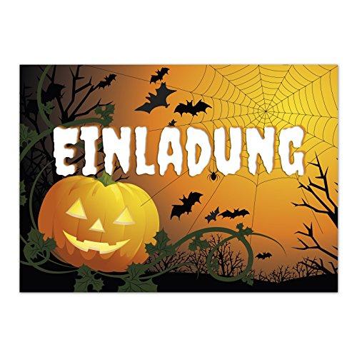 16 Halloween Einladungen - Kürbis Spinnennetz und Fledermäuse - Tolle Einladungskarten für die Halloween-Party für Kinder und Erwachsene