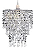 WanEway 3 Stufiger Perlen Decken Kronleuchter Anhänger Lampenschirm mit Acryl Juwelen Tröpfchen, Perlen Lampenschirm m