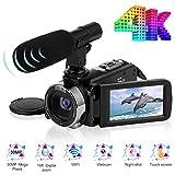 Videokamera Camcorder 4K Ultra HD 24FPS 30.0MP Wi-Fi Digitalkamera 3,0 Zoll Touchscreen Nachtsicht Vlogging Kamera für YouTube mit Externem Mikrofon