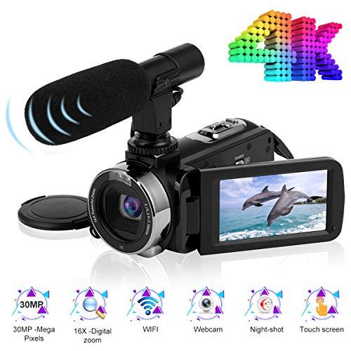 Videokamera Camcorder 4K Ultra HD 24FPS 30.0MP Wi-Fi Digitalkamera 3,0 Zoll Touchscreen Nachtsicht Vlogging Kamera für YouTube mit Externem Mikrofon - Kamera Camcorder
