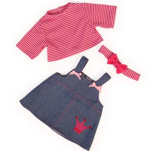 Bayer Design - Ropa para muñecas, vestido vaquera con suéter y gorro, color azul, rojo, blanco (83853AA)