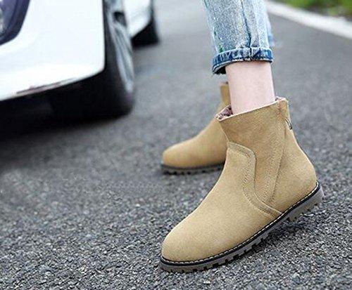 Wealsex Bottes Plates Suédé Automne Hiver Boots Chaudes Femme Taille 34-43 Beige