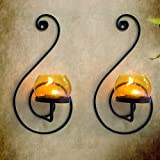 Collectible India Pair Of 2 Metal Tealight Candle Holders Wall Hanging Candle Lamp Sconces Tea Light | Wall Mounted Candle Holders Sconce | Wall Candle Holders For Home Living Room Birthday Valentine Decorations & Gifts
