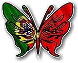 Tribal Papillon Design Sticker style avec Portugais Portugal Country Drapeau fantaisie en vinyle autocollant pour voiture en 120x 95mm