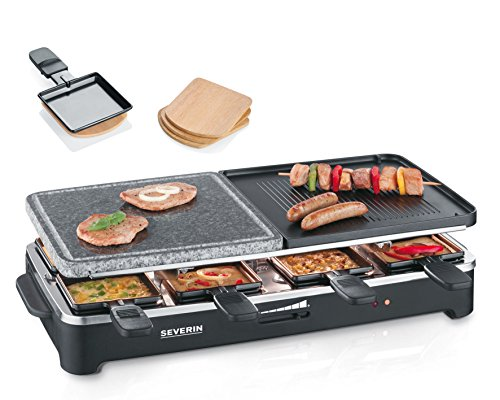 Severin RG 9474 - Raclette eléctrico con piedra de grill natural para 8 personas, 1500 W
