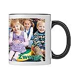 Tasse mit persönlichem Foto und Text zum selbst gestalten (Fototasse, hochwertiger Kaffeebecher, individueller Druck,farbiger Henkel und Trinkrand, mit personalisierbarem Foto, spülmaschinenfest) (Standard, schwarz)
