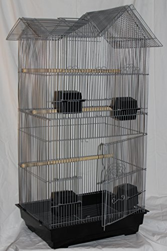Vogelkäfig Wellensittichkäfig Finken Kanarien Käfig 94 x 47 x 36 cm XXL VOGELHAUS incl. Holzsitzstangen & 4 Futternäpfe