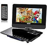 Laixin 25,7cm mobile DVD Player, lettore DVD portatile impermeabile 270° girevole display, 5ora Batteria 1024* 800TFT Multiformats supporto SD Card, USB con telecomando nero