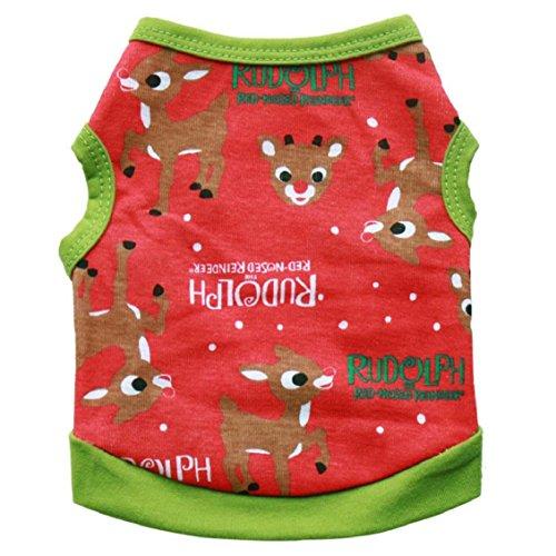Haustiere Kleidung, Transer® Merry Christmas Pets Westen/T-Shirts Hunde Mäntel und Jacken mit Weihnachten/Hirsch/Elch bedruckt Cute Kleidung für Puppy Kleid bis Hunde (Cute Elf Kostüm Womens)