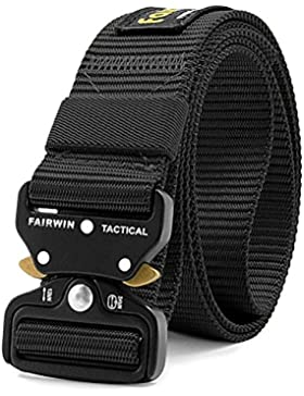 Fairwin Tactical Belt, Military Style Webbing Riggers Web Belt with Heavy-Duty Quick-Release Metal Buckle, Black
