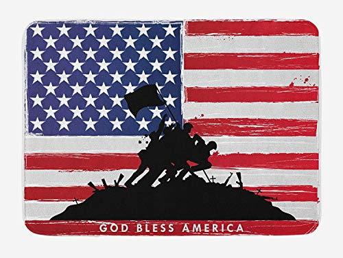 American Bath Mat, Bless America Silhouettes of American USA Flag Background Valor Patriot Theme, Plush Bathroom Decor Mat with Non Slip Backing, 23.6 W X 15.7 W Inches, Black and Red