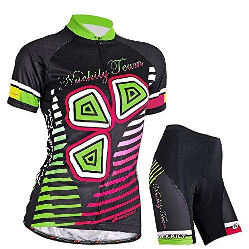 Nuckily Damen-Fahrradtrikot Lucky Blätter Design Radfahren kurz Set Medium schwarz