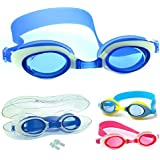 Kids Swimming Goggles by Bezzee Pro - Anti Fog - Watertight - Adjustable - 100% Money Back Guarantee - Children's Swim Glasses ideal Boys and Girls - 180 Degree Vision - Includes FREE Premium Protective Case & Ear Plugs