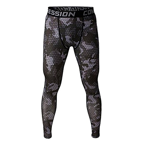 Imported Men Exercise Legging Running Tight Trousers Workout Sport Pants Grey M