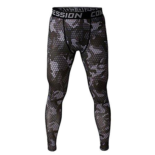 Uomini Esercitarsi Legging In Esecuzione Pantaloni Stretti Sportivi Di Allenamento Grigio L