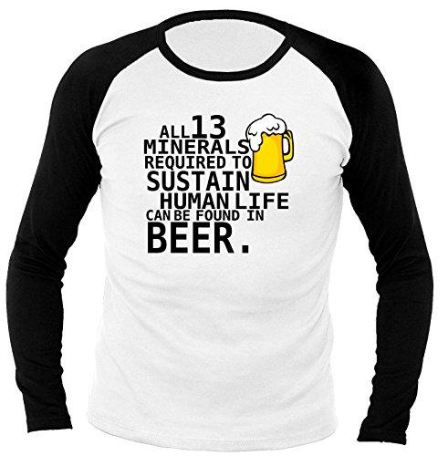 Fun Beer Minerals 702357 Herren Longsleeve Raglan weiß/schwarz