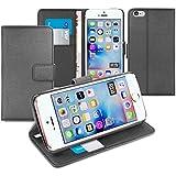 Orzly® - Multi-Functional Wallet Stand Case para Apple iPhone SE (2016), iPhone 5S (2013), iPhone 5 (2012 Original Versión de 4.0 Pulgadas Modelo) - FUNDA con PORTFOLIO más SOPORTE INTEGRADO y Tapa magnética - NEGRO
