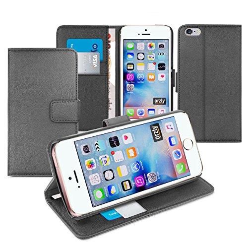 Orzly® - Multi-Functional Wallet Stand Case für Apple iPhone SE (2016), iPhone 5S (2013), iPhone 5 (2012 Original Version der 4.0 Zoll Modell) - SCHUTZHÜLLE mit integrierte BRIEFTASCHE + STAND mit Mag SCHWARZ MFW für iPhone iPhone SE
