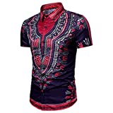 VENMO Mode Herren Ethnic Style Beach short-sleeved shirt/ Hipster Hip Hop Bluse/ Afrikanische Dashiki Grafik-Spitzenhemden/ Retro afrikanisch Tradition Festival Kleidung/ V-Ausschnitt Tops Tribal Hemd Gedruckt Lange Ärmel Dashiki (Purple, 2XL(Asian XXL=EU XL))