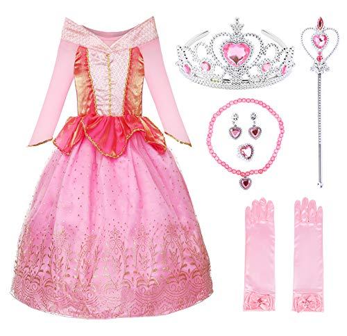 JerrisApparel Mädchen Prinzessin Aurora Kostüm Dornröschen Kleid (Rosa Aurora mit Zubehör, 4 (Rosa Dornröschen Kostüm)
