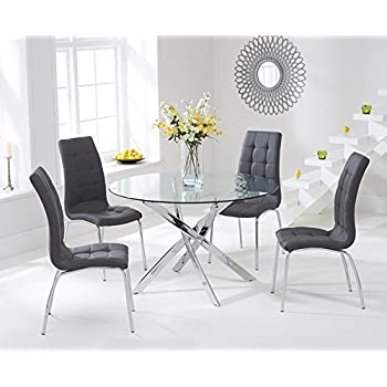 8580954aa7c GIZZA Small Round Clear Glass Dining Table and 2 4 Sled Based Grey ...