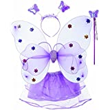 Wobbox Girls Butterfly Wings, Fairy Wings, And Angel Wings Costume For Kids. For Garden Parties, Birthday Parties And Much More. 4 Piece Set Double Layer (Purple)