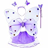#3: Wobbox Girls Butterfly Wings, Fairy Wings, And Angel Wings Costume For Kids. For Garden Parties, Birthday parties and much more. 4 piece set double layer (Purple)