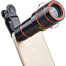 Cámara de teléfono celular óptica TGelecstore Kit de Lentes teleobjetivo ajustable 12x Zoom Óptico profesional Universal telescopio para iPhone 6S/6S Plus/6/5s/5C/5, Samsung Galaxy, Nexus, HTC, LG, Sony y más