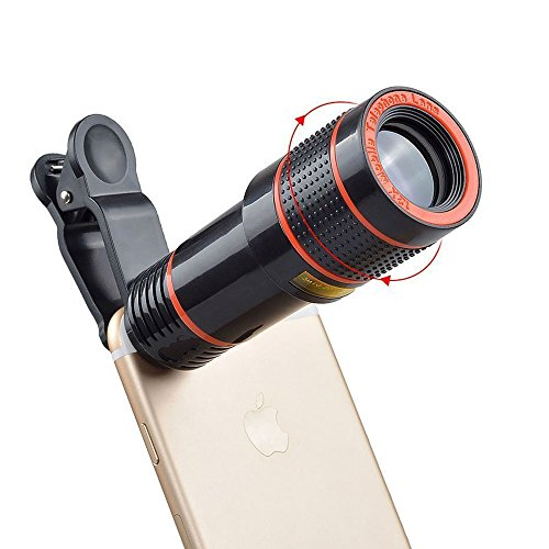 Teleskop-objektiv (Optisches Handy-Kamera-Objektiv-Kit TGelecstore 12X Verstellbares Teleobjektiv Professionelles universelles optisches Zoomobjektiv Teleskop f¨¹r iPhone 6S Plus / 6S / 6 / 5S / 5C / 5, Samsung Galaxy)